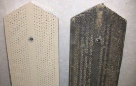 Before and after picture of boards from a Taiwanese loom. These are difficult to work with since needles tend to become impacted in these boards.
