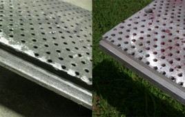 These are before and after pictures of a worn Dilo board. We welded the board, milled the weld to size, and cleaned up the board. We did three of these.